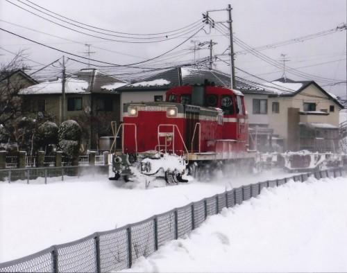 住宅街を駆け抜ける貨物列車(Kさん,秋田県)